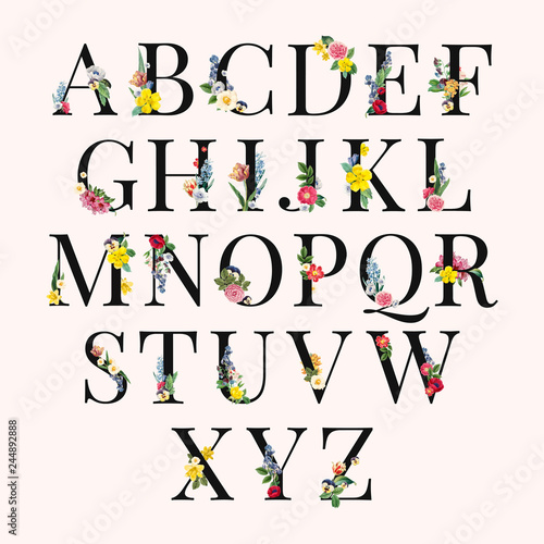 Alphabet floral background illustration Fototapeta