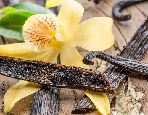 Wysuszone waniliowe owoc i waniliowa orchidea na drewnianym stole.
