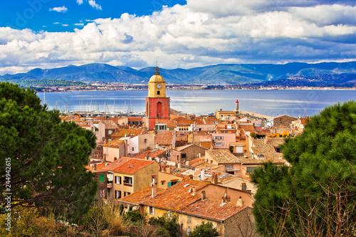 Obraz na płótnie Saint Tropez village church tower and old rooftops view