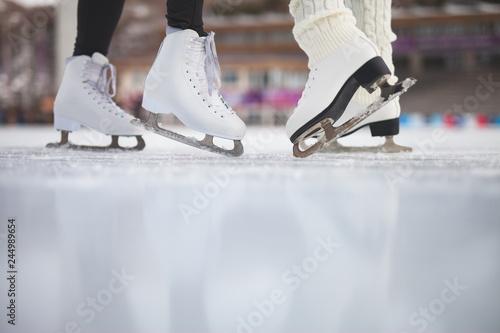 Closeup skating shoes ice skating outdoor at ice rink