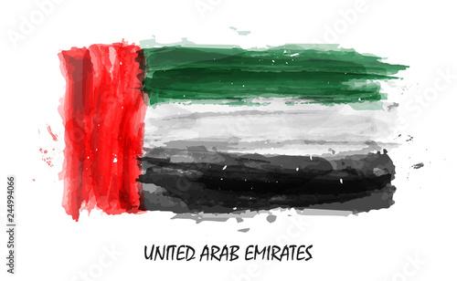 Fotografía Realistic watercolor painting flag of United arab emirates ( UAE )