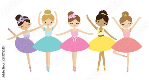 Fotografiet Vector illustration of cute dancing little ballerinas