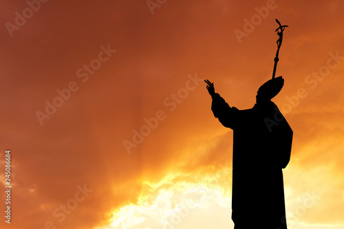 Obraz na płótnie illustration of pope at sunset