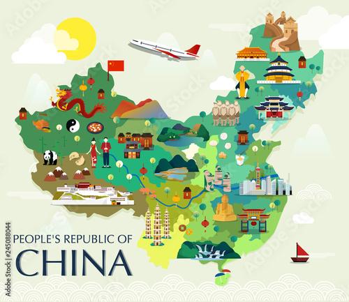Fotografia, Obraz Map Of China Attractions Vector And Illustration.