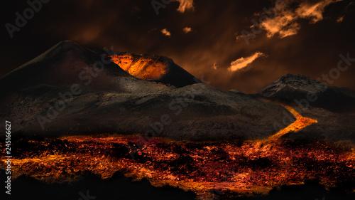 Fotografia Lava flowing from volcano eruption. Image montage.