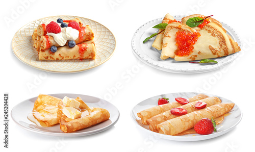 Set of plates with tasty thin pancakes and different toppings on white background