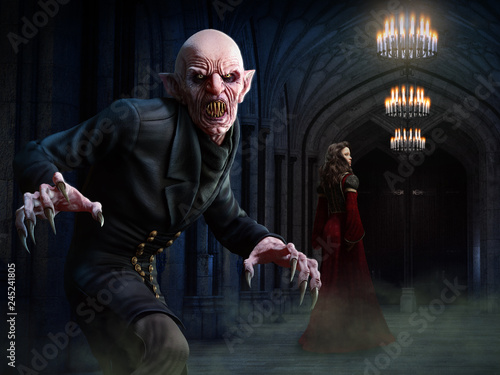 Canvas Print Vampire scene 3D illustration