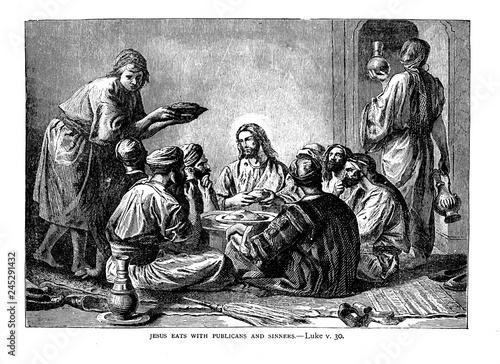 Obraz na płótnie Jesus eats with sinners