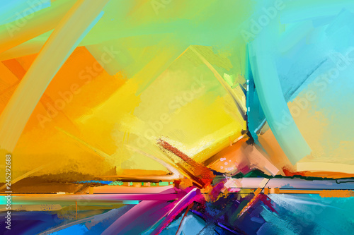 Abstract colorful oil, acrylic paint brush stroke on canvas texture. Semi abstract image of landscape painting background. Oil modern contemporary wall art paintings. Artwork colorful for background