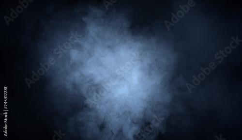 Photo Blue fog and misty effect on black background