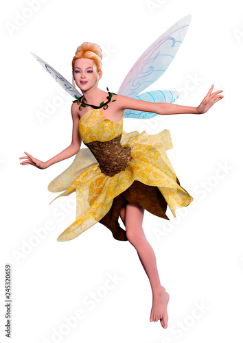 Photo 3D Rendering Fantasy Fairy on White