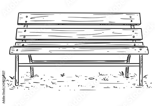 Fotografia, Obraz Cartoon Drawing illustration of empty park bench or seat made from metal and wood