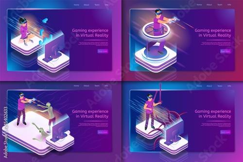 Obraz na płótnie Isometric Set Gaming Experience in Virtual Reality