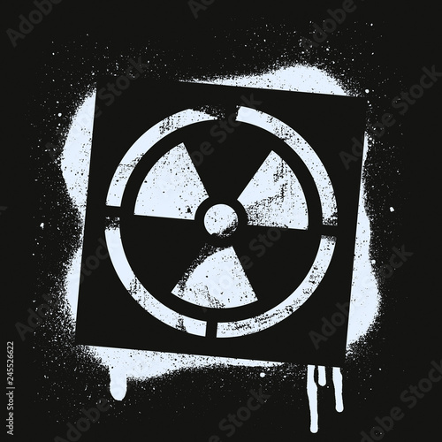 Stencil radioactive sign Fototapeta