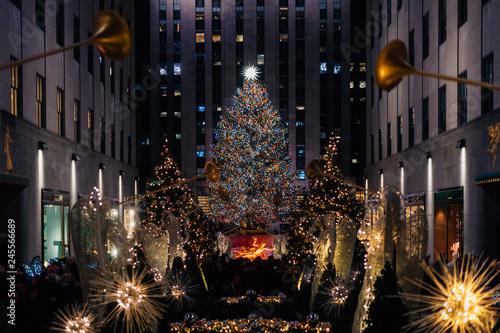 Wallpaper Mural Christmas tree at Rockefeller Center at night, in Midtown Manhattan, New York Ci