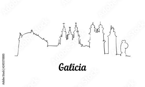 Photo One line style Galicia skyline