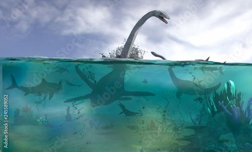 Photo different aquatic dinosaurs render 3d