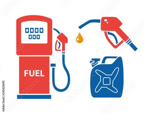 Fotografia Gas pump, nozzle with fuel drop, petrol jerry can
