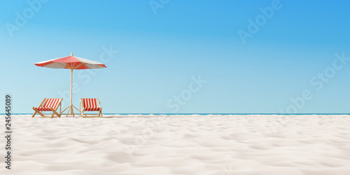 Beach umbrella with chairs on the sand. summer vacation concept. 3d rendering