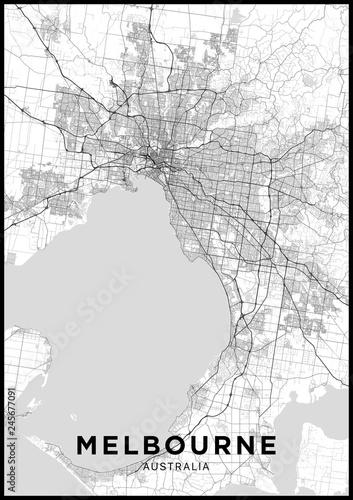 Fotografie, Obraz Melbourne (Australia) city map