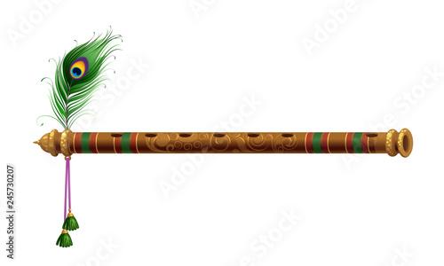 Fotografija Beautiful flute with peacock feather