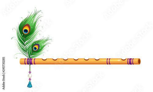 Fotografija Beautiful golden flute with peacock feathers