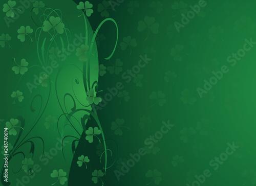 St Patty-Green Shamrock Background Fototapet