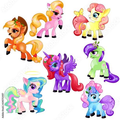 Photo Set of colorful little cute ponies and unicorn isolated on white background