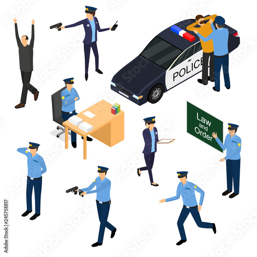 Canvas Print Character Policeman in Uniform 3d Icon Set Isometric View. Vector
