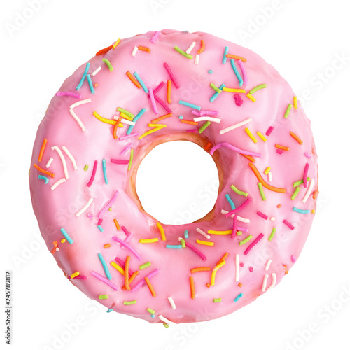 Fotografiet Pink donut decorated with colorful sprinkles isolated on white background