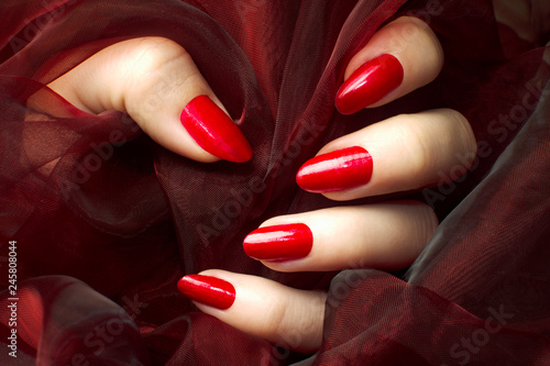 Photo red nails manicure