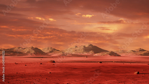 Photo landscape on planet Mars, scenic desert surrounded by mountains on the red plane