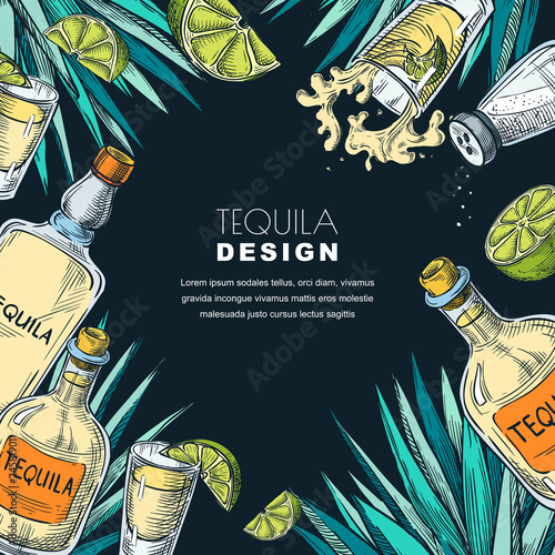Obraz na płótnie Tequila label design