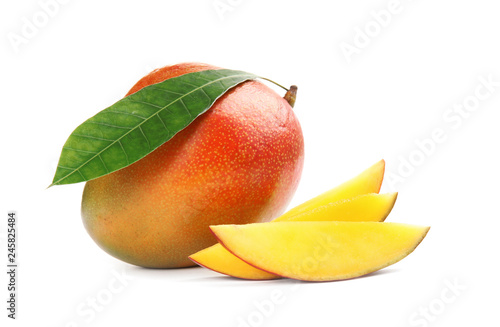 Delicious ripe mangoes on white background. Tropical fruit