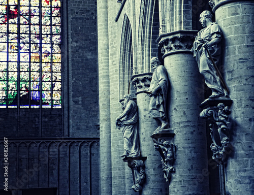 Interior of St. Michael and St. Gudula Cathedral, Brussels,