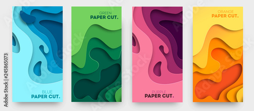 Leinwand Poster Vertical banners with 3D abstract background with paper cut shapes