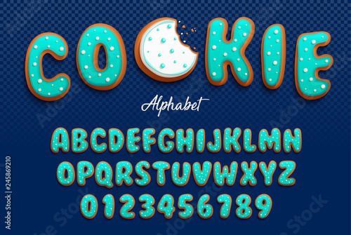 Photo Vector cartoon font and alphabet in the form of cookies in royal icing with decorative tiny balls made with sugar for decoration