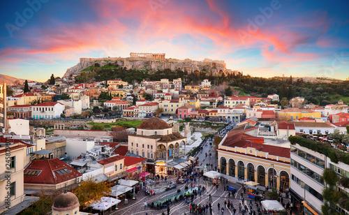 Canvas Print Athens, Greece -  Monastiraki Square and ancient Acropolis