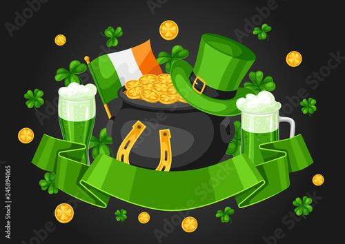 Saint Patricks Day greeting card. Fototapeta