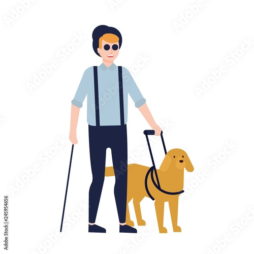 Blind man and guide dog isolated on white background Fototapet