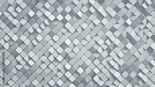Fotografie, Obraz White rhomb mosaic surface 3D render