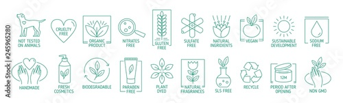 Fotografia Collection of linear symbols or badges for natural eco friendly handmade products, organic cosmetics, vegan and vegetarian food isolated on white background
