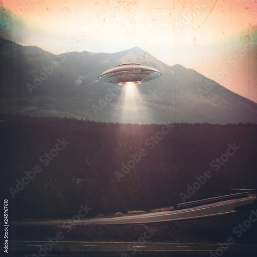 Unidentified flying object UFO. Old style photo with high ISO noise and dirt with scratches over time.