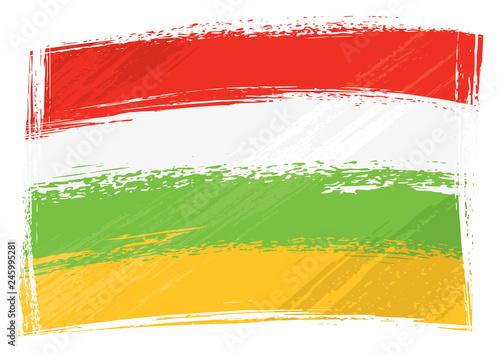 Spanish autonomous community La Rioja flag created in grunge style