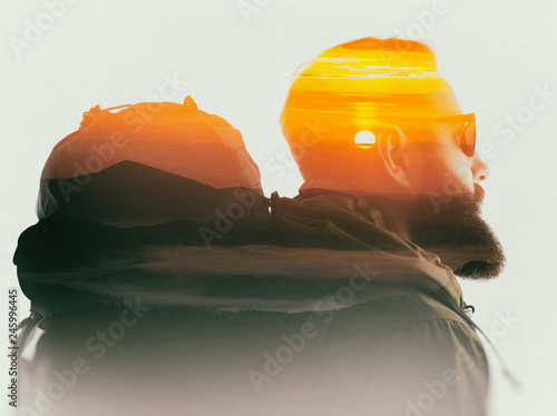 Tablou Canvas Double exposure with bearded traveler and mountain dawn