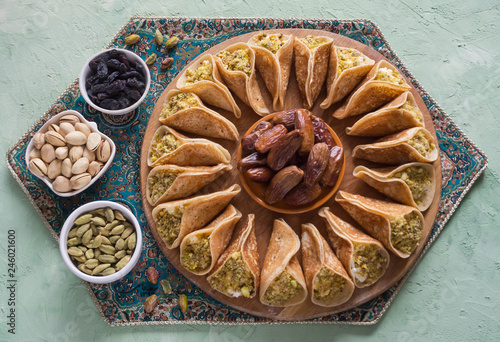 Baghrir Moroccan pancakes. Arabic pancakes with dates.