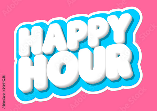 Stampa su Tela Happy Hour, sale tag, poster design template, discount isolated sticker, vector