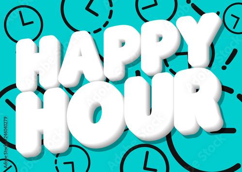 Carta da parati Happy Hour, sale tag, poster design template, vector illustration