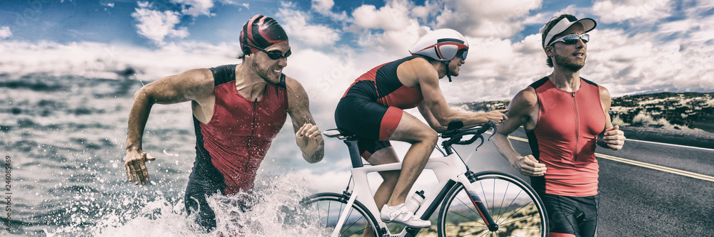 Triathlon sport banner man running , swimming, biking for competition race background. Triathlete swim bike run composite.