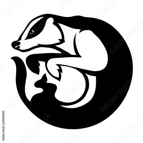 Foto badger logo design in circle, vector graphics to design